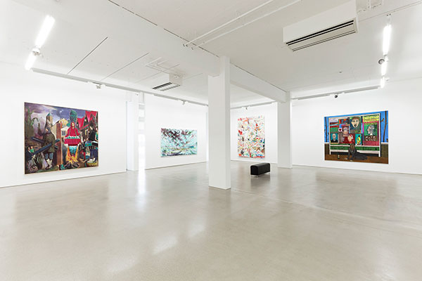 Installation view of the G2 Kunsthalle with artworks from the Hildebrand Collection by Neo Rauch, David Schnell, Uwe Kowski and Christoph Ruckhäberle © The artists & G2 Kunsthalle, Leipzig, Photo: Dotgain.info
