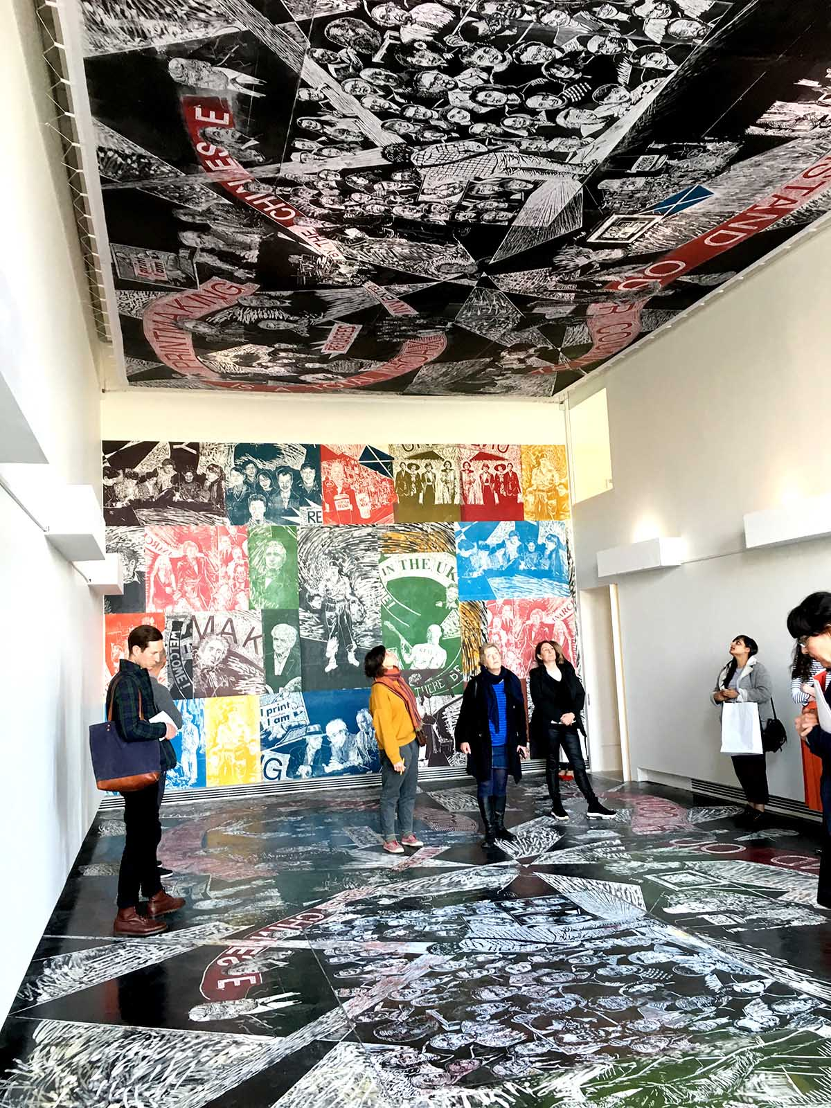 Gallery 1 view of Thomas Kilpper: Th Politics of Heritage vs. the Heritage of Politics (rubber floor carving and wall/ceiling prints) 2019