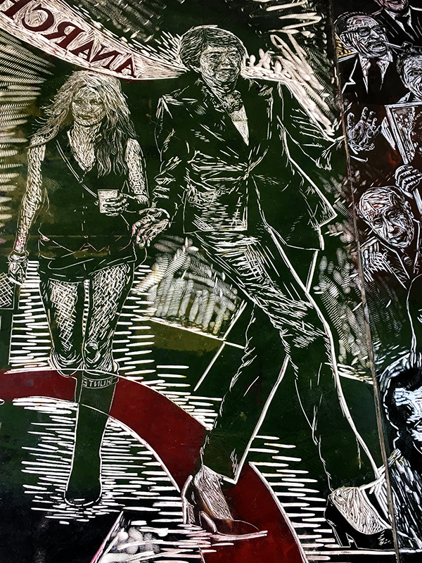Kate Moss and Theresa May, detail: Thomas Kilpper, <i>The Politics of Heritage vs. the Heritage of Politics (rubber floor carving, 2019)