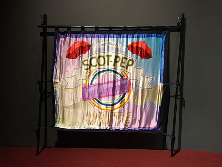 banner, Fiona Jardine and SCOT-PEP, mixed materials and digital print