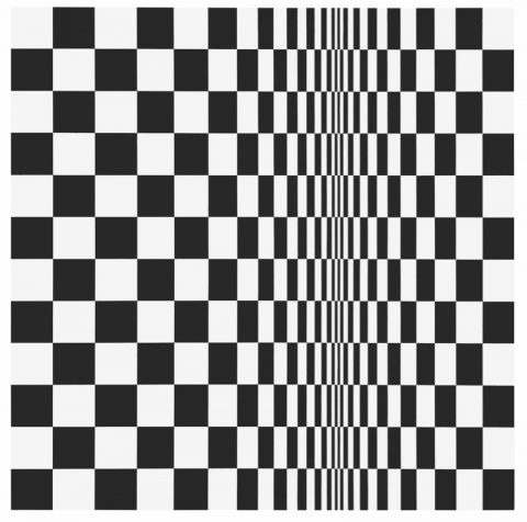 Bridget RILEY (b. 1931) Movement in Squares, 1961 Synthetic emulsion on board, 123.2 x 121.2 cm Collection: Arts Council Collection, Southbank Centre, London © Bridget Riley 2019. All rights reserved