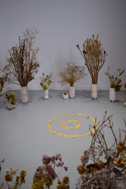Katharine McCullough: 'into her blossom world' (plaster, dried plants, pigment, ceramic)