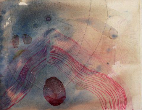 Hypogean, Aimée Parrott 2019, acrylic, ink, watercolour and thread on cotton
