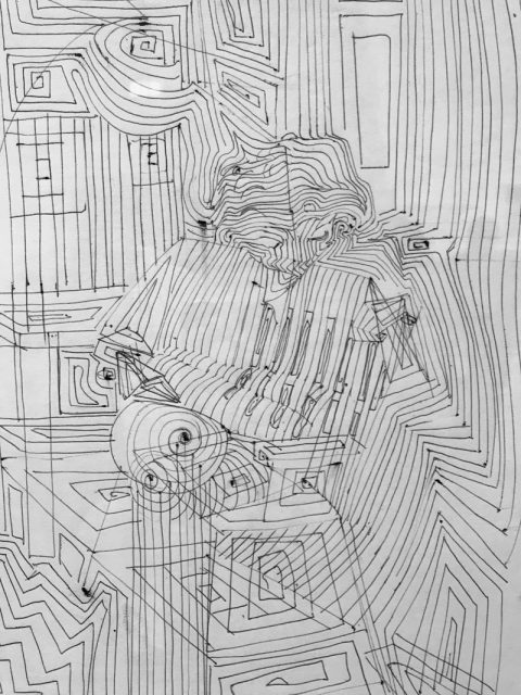 Bridget Riley: early art school drawing