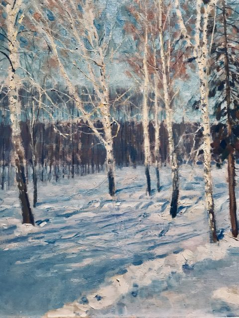detail from A Winter's Day (1941), Igor Emanuilovich Grabar (1871-1960), oil on canvas
