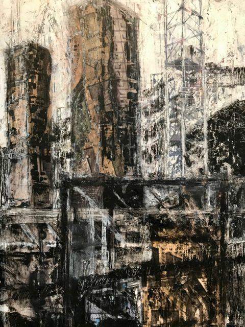 Becky Lloyd: 'Edinburgh St. James No.2' detail (mixed media on plywood)