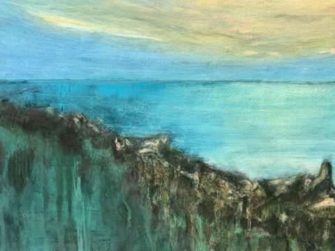 Matthew Lough: 'Towards Maidens and Ailsa Craig, Evening' (oil on board)
