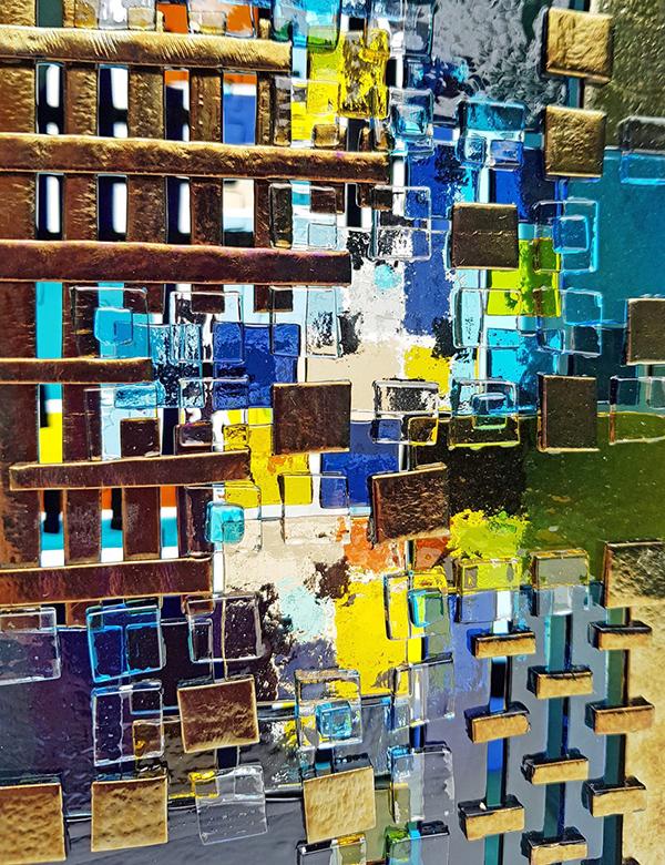 Line Mortensen: Closeup, Bottle Mosaic Panel, Fused Glass