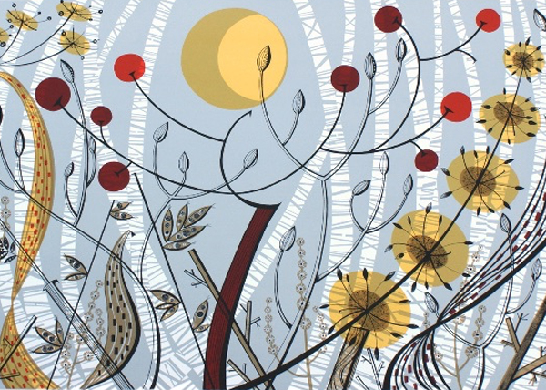 Angie Lewin - Birches, Ballindalloch Screenprint
