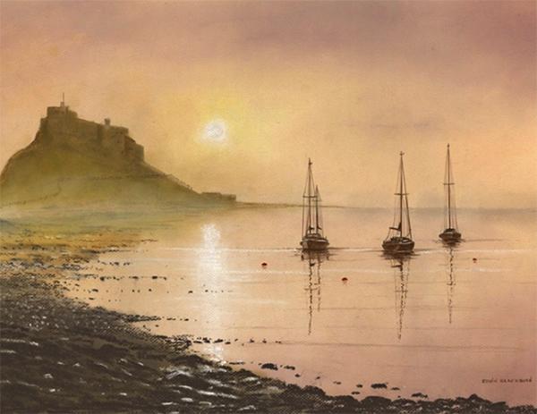 Edwin Blagdon - Misty Morning, Lindisfarne - Pastel