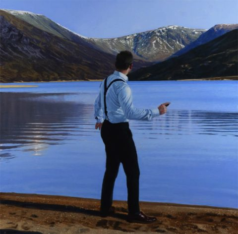 Iain Faulkner - Throwing Stones, Loch Callater, Oil on Canvas