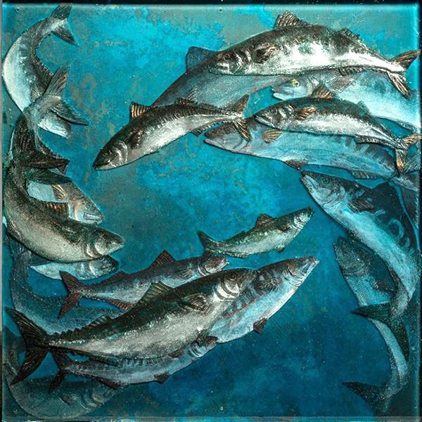 Sam Macdonald: Mackerel Shoal - resin and copper