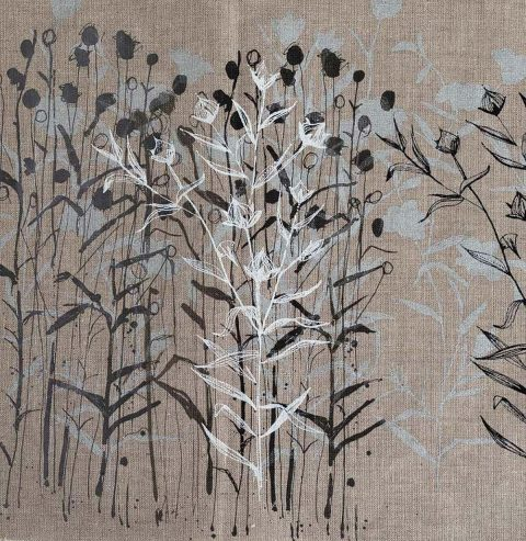 Lorna Brown - Flax Fields, original screen print on Kirkcaldy linen