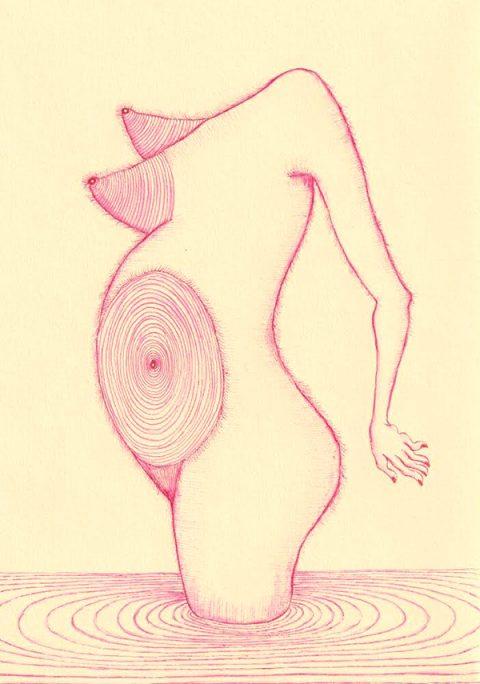 Flore Gardner, 'Spiral Pregnancy', ink on paper