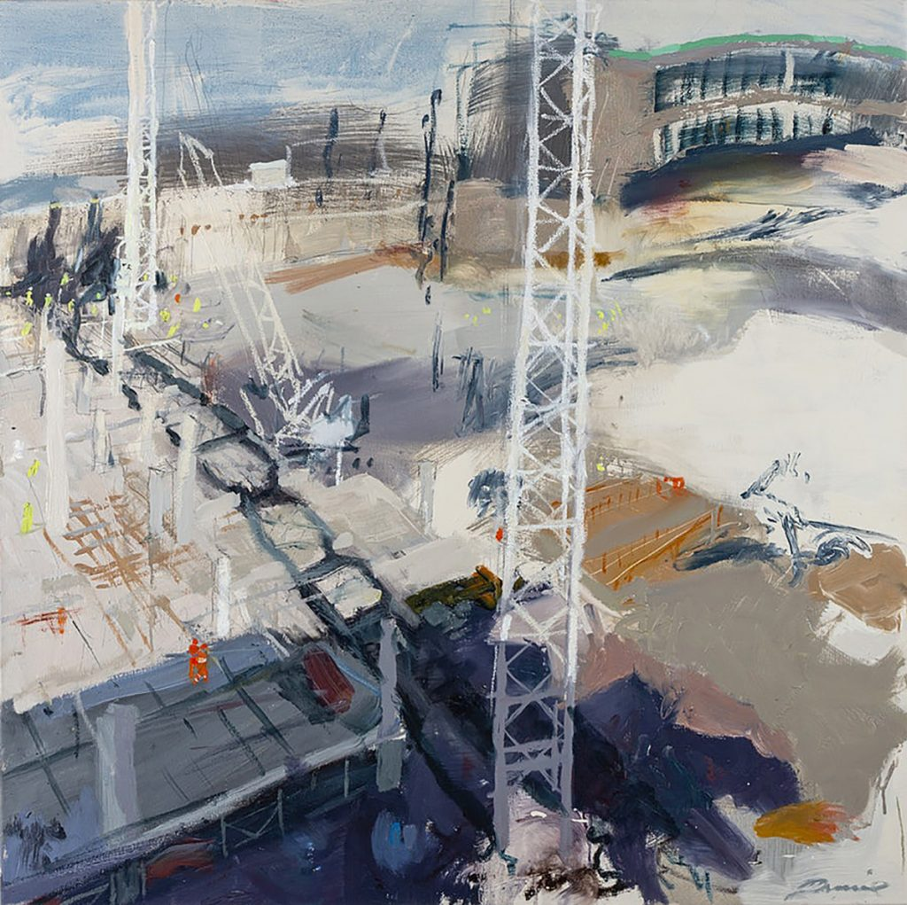 Kate Downie - The Cranes of St James - oil on canvas