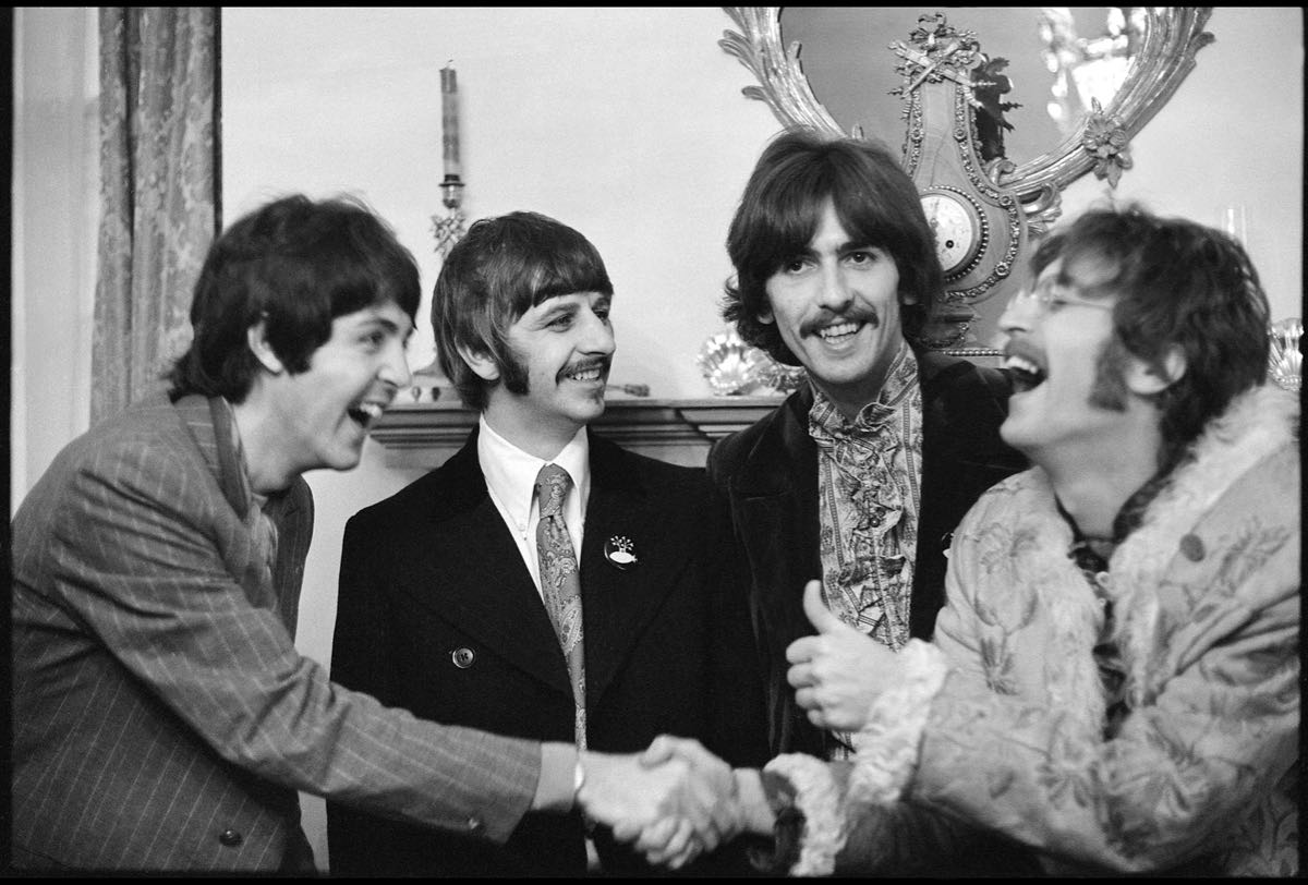 The Beatles at Brian Epstein's home in Belgravia at the launch of Sgt. Pepper's Lonely Hearts Club Band, London 1967