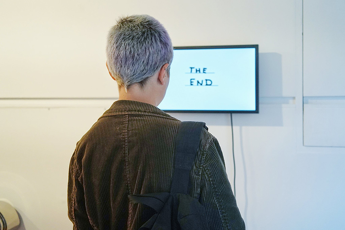 David Shrigley: Flame, video. Image: Fiona Watson