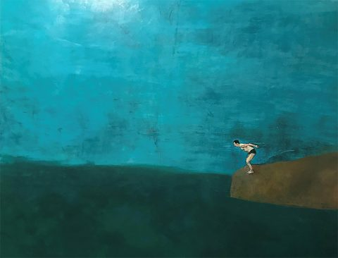 Sopho Chkhivadze - Diving, Oil on Canvas