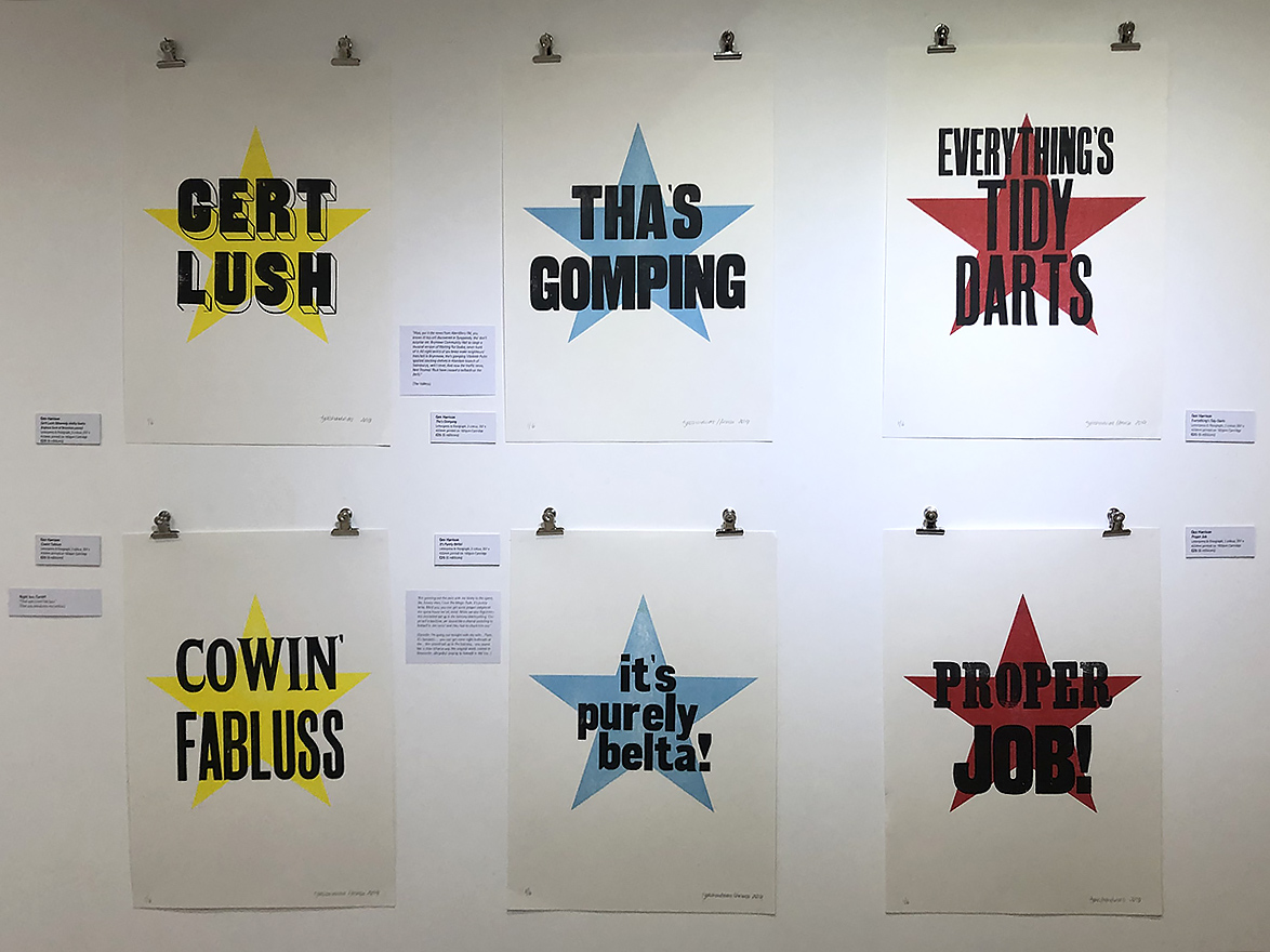 Dialect phrases - letterpress on paper