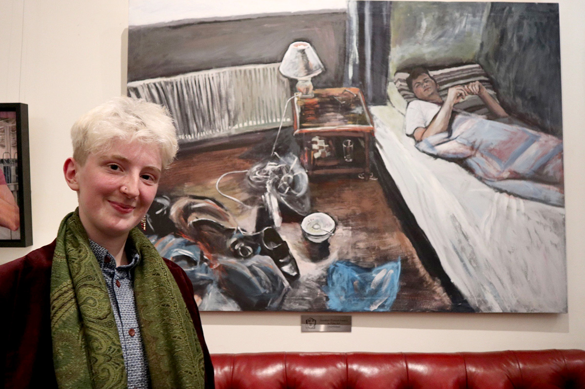 Robin Gage, winner of the SPA Young Fine Artist Award with her portrait 'Land of White Mist' (photo by George McBean)