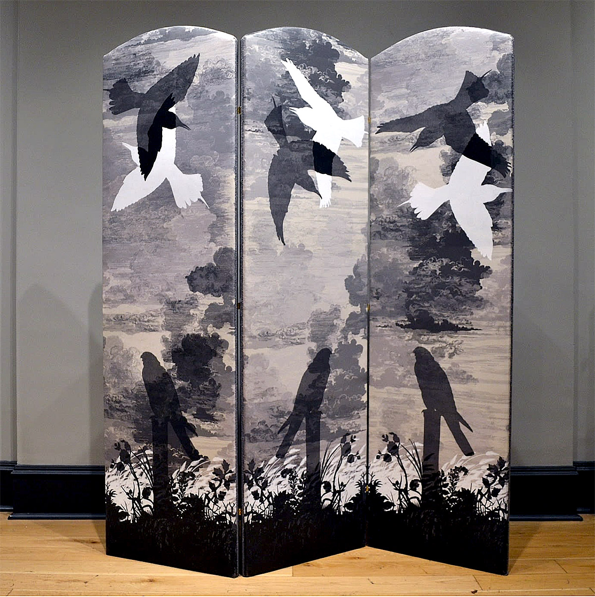 Timorous Beasties -Grey Kes, folding screen upholstered in cloud toile fabric with one-off screen print design, 2019