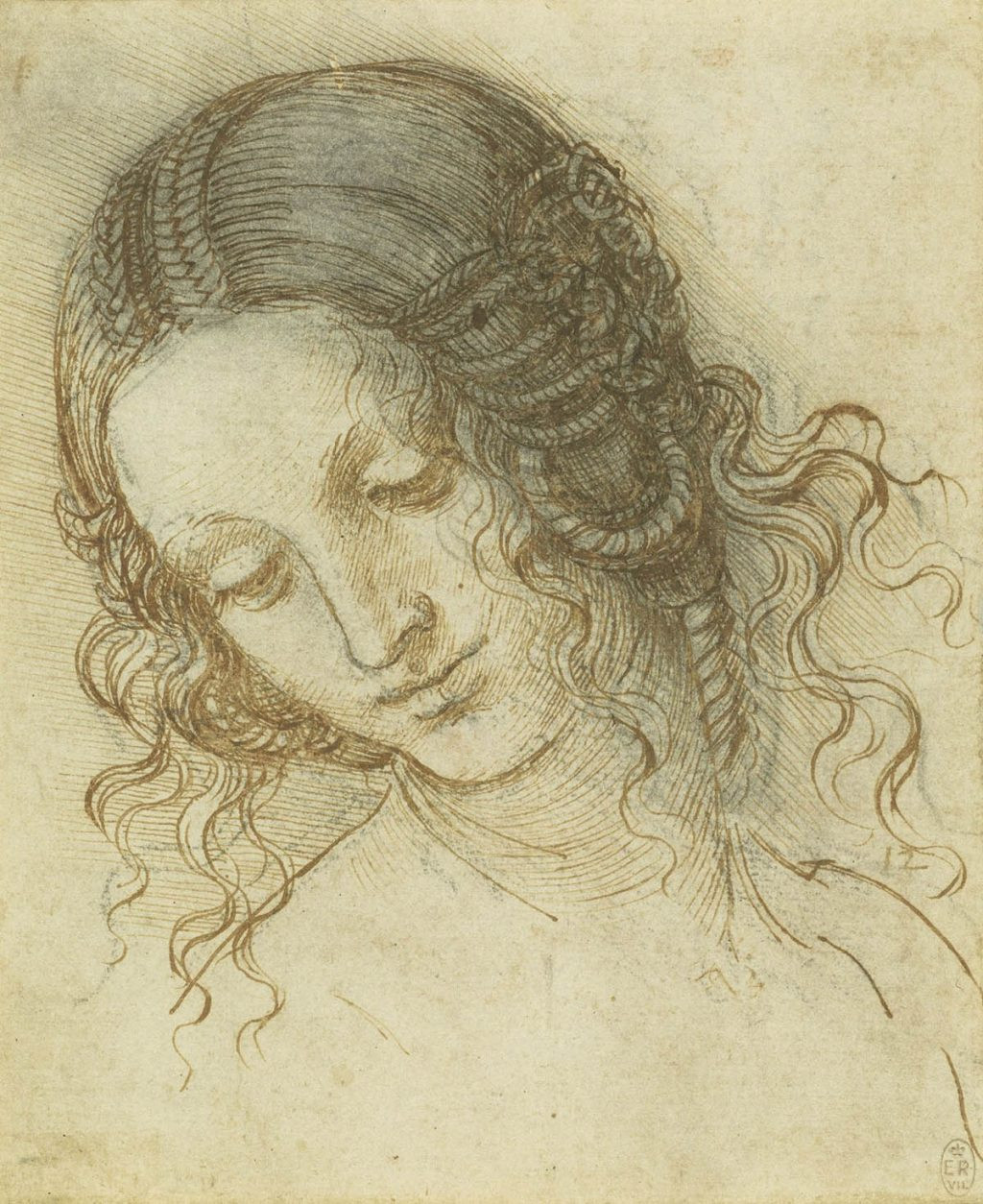 Leonardo da Vinci (1452-1519) The head of Leda c.1505-8 Black chalk, pen and ink on paper Copyright The Royal Collection Trust
