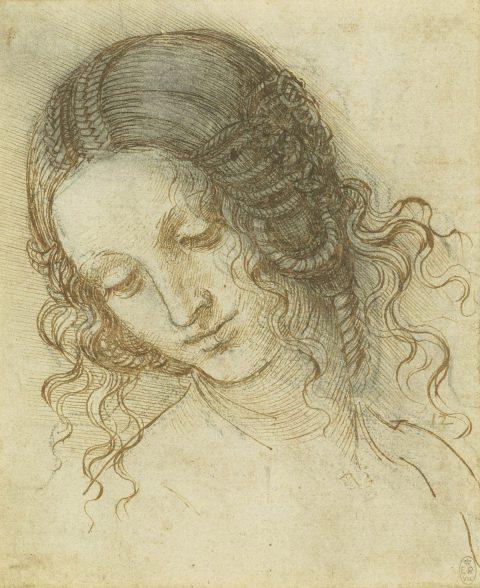 Leonardo da Vinci (1452-1519) The head of Leda c.1505-8 Black chalk, pen and ink on paper Copyright The Royal Collection Trust