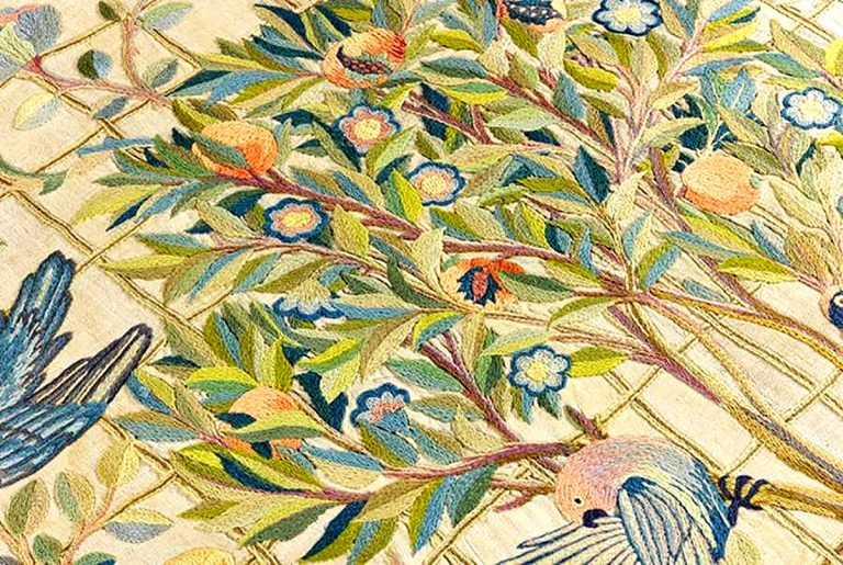 Detail of Melsetter Embroidery by May Morris, worked by May Morris and Theodosia Middlemore, c.1900