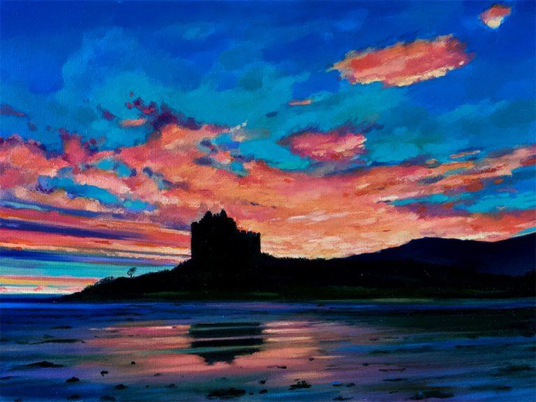 Nichol Wheatley - 'Castle Tioram, the pinkest dusk'. Loch Moidart, Acharacle