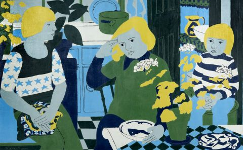Norman Gilbert - People in a Kitchen with Plants (1974)