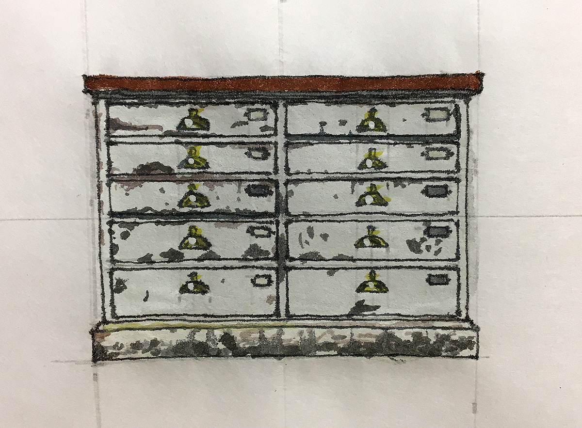 Cabinet, Royal Dick Bar, Elevation Drawing