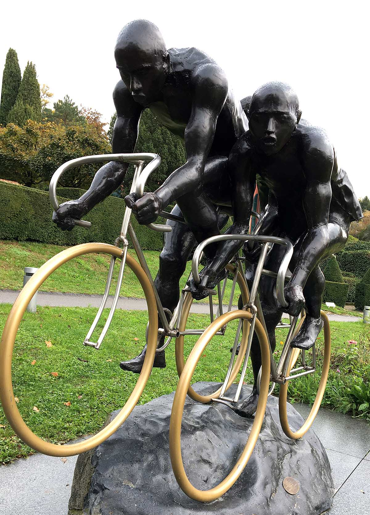 Cycling Sculpture in the Olympic Museum's park by Gabor Mihaly