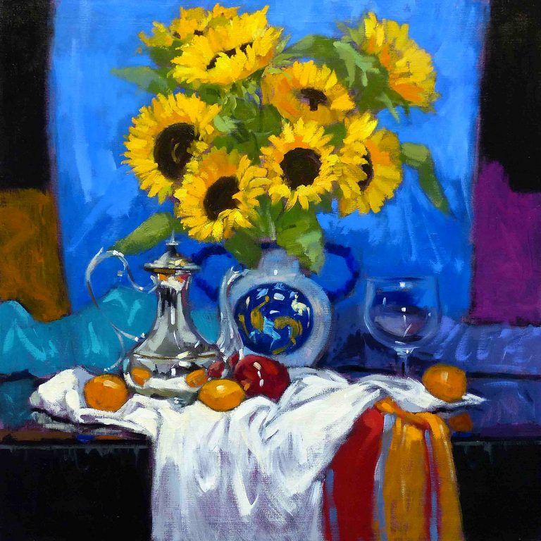 Jack Morrocco - Sunflowers and French Silver Pot, oil on canvas
