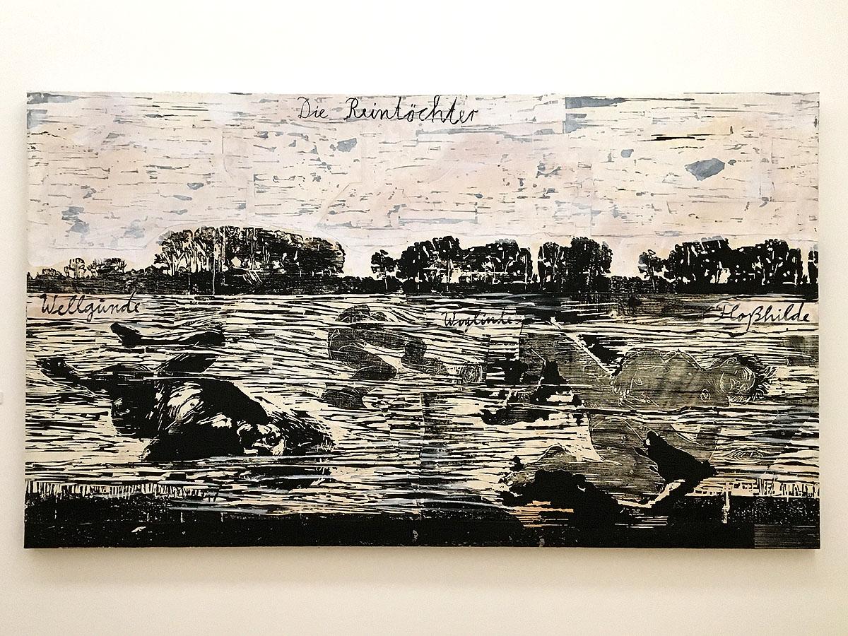 <em>Anselm Keifer - Die Rheintochter, gravure on wood, acrylic and varnish on canvas</em>