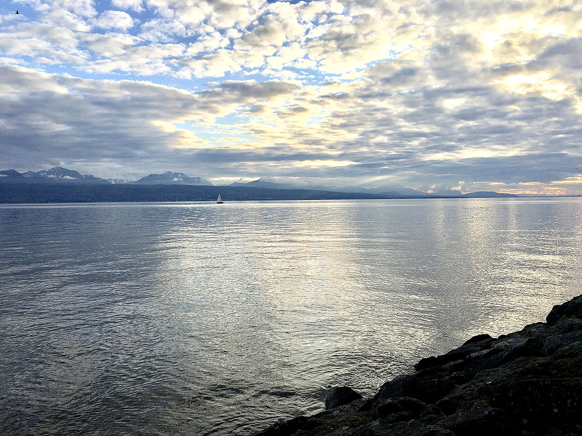Lake Geneva (French: Lac Leman), sunset