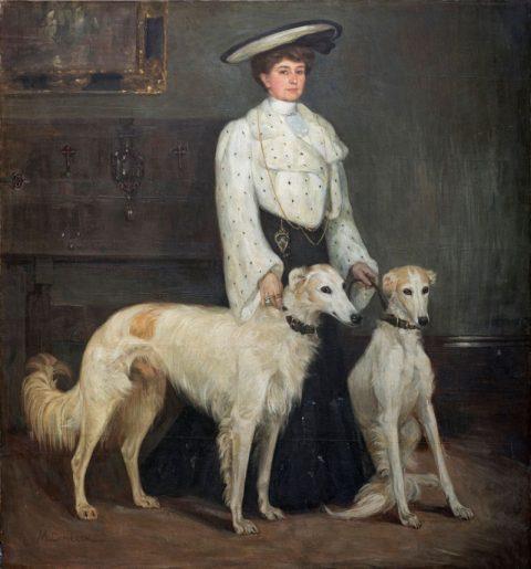 Mary Cameron, Mrs Blair and her Borzois, 1904_0