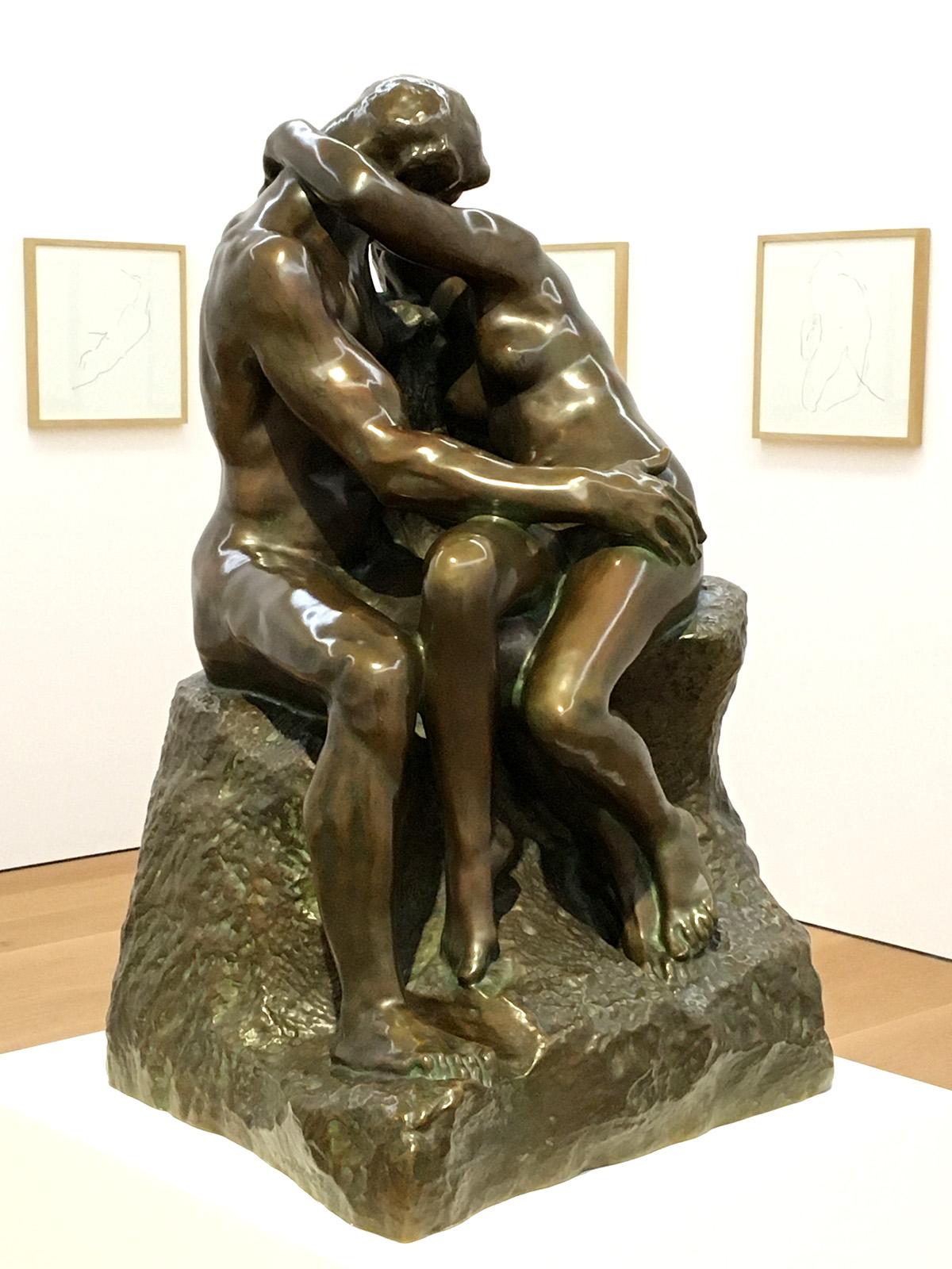 <em>Auguste Rodin - The Kiss, bronze; Denis Savary Untitled series, graphite</em>
