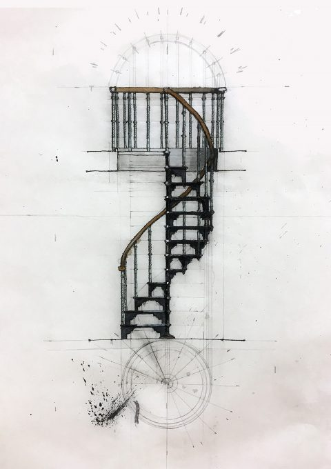 Spiral Staircase, Dissection Room, Section Drawing