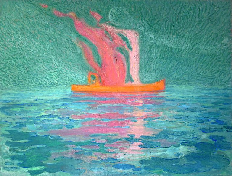 Barry McGlashan - Burning Boat Painting, Oil on canvas