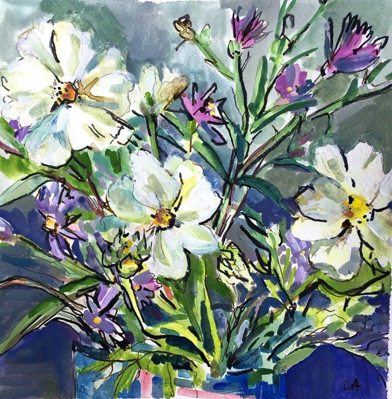 Clare Arbuthnott - Cosmos, watercolour