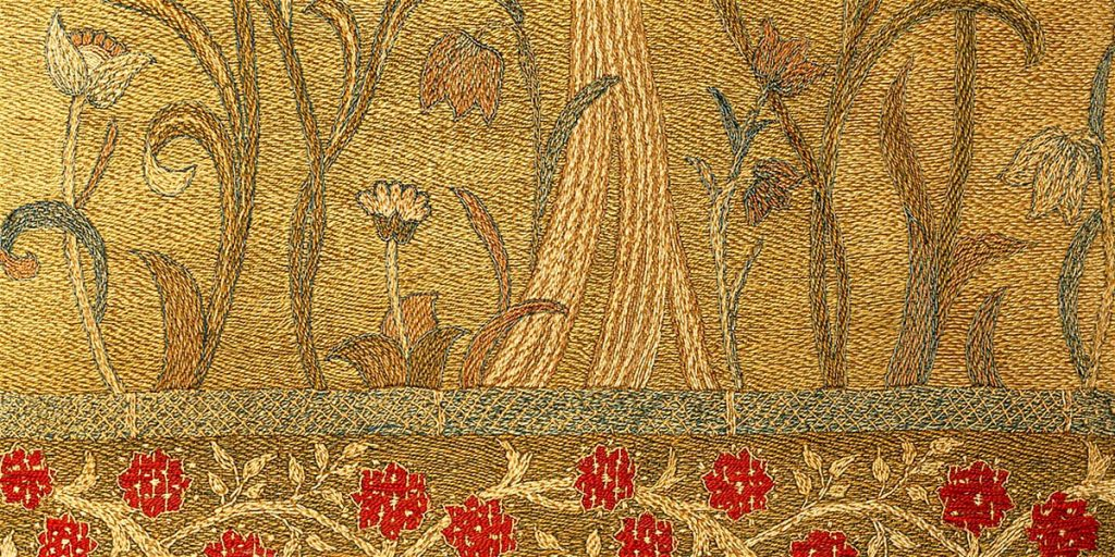 Detail from May Morris tapestry screen at Marchmont