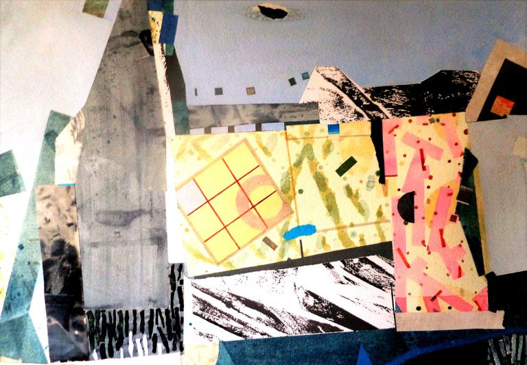 John Inglis - Ruined Cottage, collage, mixed media on paper