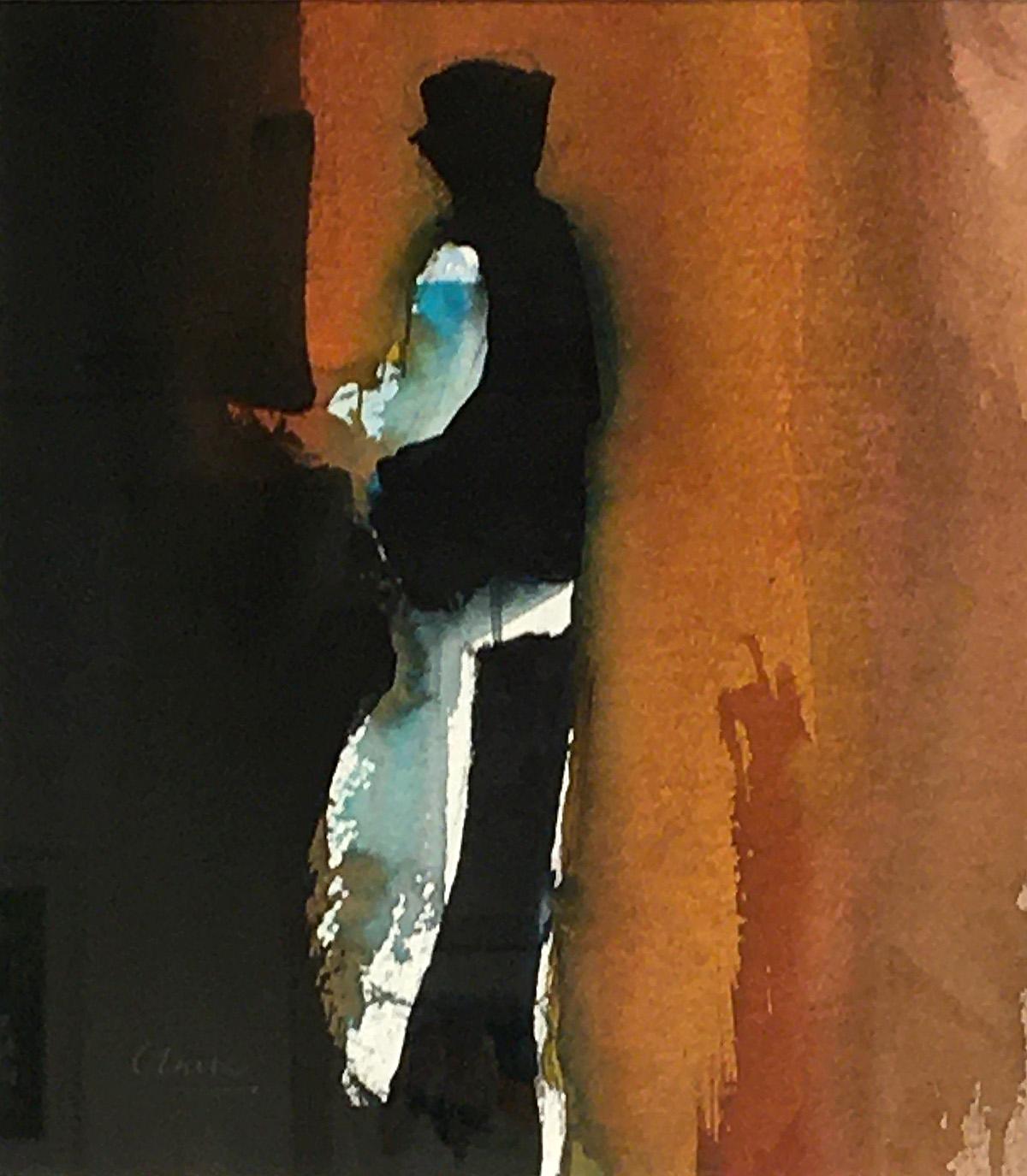 Michael G Clark - Waiter, Paris, October, watercolour