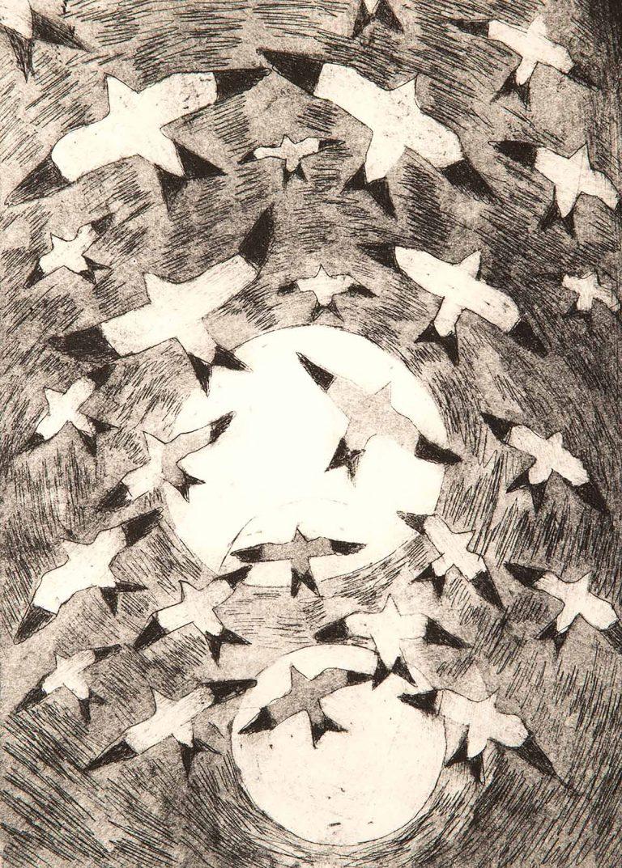 Paul Bloomer - Snow Buntings, etching