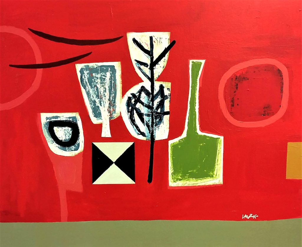 Simon Laurie - Arrangement on Red, acrylic on board
