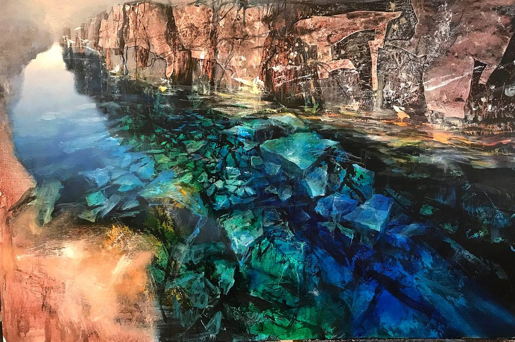 Beth Robertson Fiddes - Clear Water Iceland, mixed media