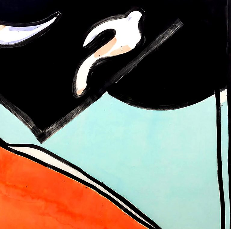 Matt Connors - A Bird Flying Through a Tunnel, acrylic on canvas Square II